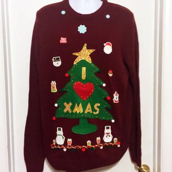 Ugly Christmas Sweater, Red Sweater, Grinch Sweater, Christmas Sweater, XL, Ugly Sweater Party, Item #16