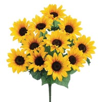 Artificial Sunflower Bush in Yellow 19""