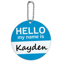 Kayden Hello My Name Is Round ID Card Luggage Tag