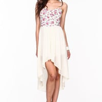 FLORAL BUSTIER HIGH LOW DRESS
