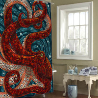 mosaic octopus custom shower curtains that will make your bathroom adorable