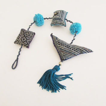 Hanging Boho Teal Ornament, Tribal Home Decoration, Home Mobile Decor