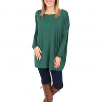 PIKO: Forest Green Love On Top Long Sleeve Tunic | Monday Dress Boutique