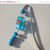 Holiday Sale Handmade Blue Wire Wrapped Glass Bead Book Mark Bookmark