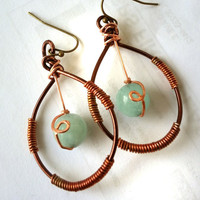 Blue Tangled:  Brown copper wire earrings, big, rainbow, red torched wire, Agate bead wrapped, light blue, long, dangle