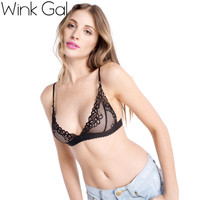 Wink Gal Women Sexy Perspective Sheer Lace Lingerie Bra Top Underwear See-through Meshy 1658