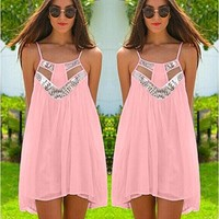 OURS Women's Summer Beach Spaghetti Strap Mini Short Dress with Sequins