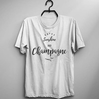 Sunshine champagne t shirt t-shirt funny graphic tee womens party drinking shirt gifts for beer lover wine alocohol drink quotes shirts