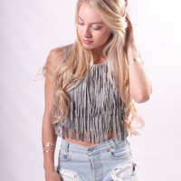 """""""Stagecoach"""" Faux Suede Fringe Top"""