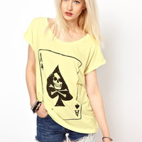 Women Plus Size Poker Skull Printed Short Sleeve Beige T-Shirt FREE SHIPPING!!!