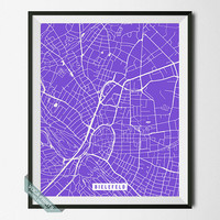 Bielefeld Print, Germany Poster, Bielefeld Street Map, Germany Map Print, Dorm Decoration, Modern Decor, Street Map, Back To School