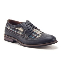 Men's 19312D Lace Up Wing Tip Plaid Oxfords Dress Shoes