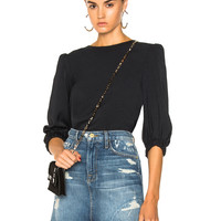 Tibi Drape Twill Easy Top in Black | FWRD