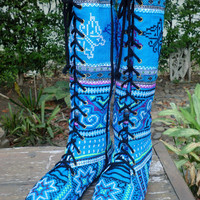 Vegan Womens Boots Blue Hmong Embroidered Boho Boots Sadie
