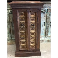 Vintage Brass Front Wood Nightstands - A Pair