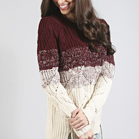 snow flurries striped cable knit sweater - burgundy