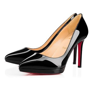 Cl Christian Louboutin Pigalle Plato Black Patent Leather 100mm Stiletto Heel 16w
