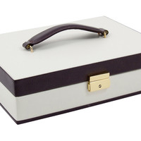 Leather Jewelry Chest, Ivory/Mahogany, Jewelry Boxes & Chests