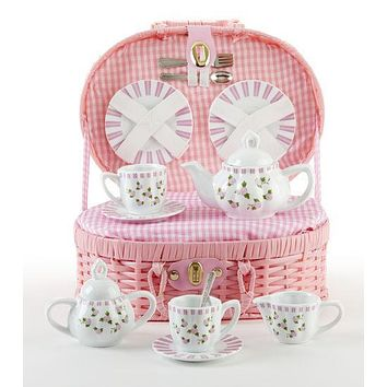Pink Button Rose Childrens Porcelain Tea Set in Wicker Style Basket - FREE Tea Included!!