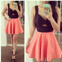Front Bow Cut-Out Dress