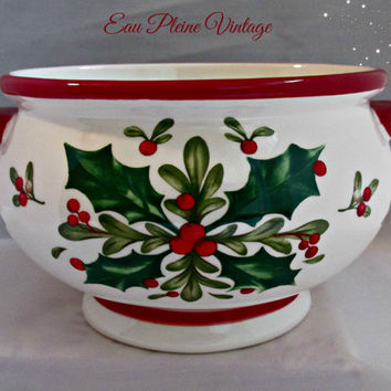 Teleflora Ceramic Christmas Holly Berries Mistletoe Red Green Vintage Gift Bowl Holiday Decor