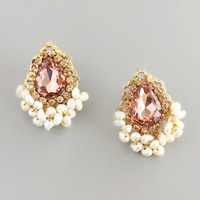 Pearls & Crystals Cluster Earrings