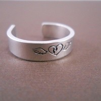 Custom adjustable memorial ring Heart with wings and by noahbear1