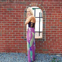 Rattle Me Maxi – Multi Color Print Strapless Maxi Dress with Black Cutout Top