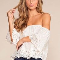 Just A Moment Off The Shoulder Embroidered Top - White