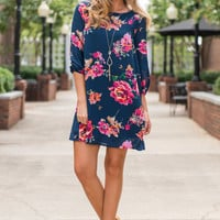 Bright And Beautiful Dress, Navy