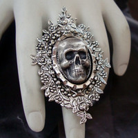 Skulley Dinner Ring, Human Head Skull, Sterling Silver Gothic, Victorian Mourning Jewelry, Metal Bonded, NOT glued Original Design,