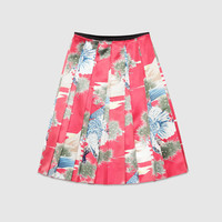 Gucci Eagle print silk pleated skirt