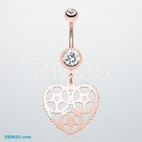 Rose Gold Steampunk Hollow Heart Belly Button Ring