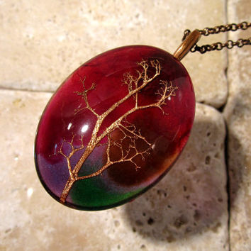 Reindeer Lichen Necklace, Moss, Plant jewellery, Mycology, fungi, woodland, nature, oval glass, Antique copper tone chain, purple