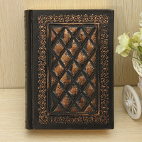 Fashion Vintage Classic Retro Black Golden Plaid Leather Framed Notebook Diary Journal Office Supplies