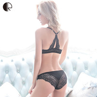 Intimates 2016 New Women Sexy Lingerie Lace Y-line Straps Front Closure Bra Hollow Out Panties Bra set Underwear WI405