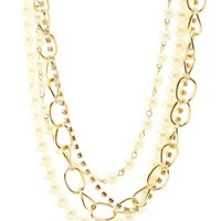 Gold Rhinestone, Chain & Pearl Layered Necklace by Charlotte Russe