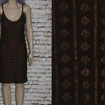 90s Bodycon Dress Burnout Mesh Lace Geo Triangle Brown Grunge Hipster Goth Gothic Boho Witchy Witch Festival S M