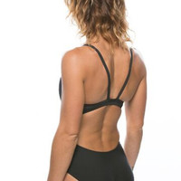 Trent Poly Fixed-Back Onesuit - Black