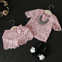 Girls Clothes Set New Fashion Lace Floral Pink Shirt Shorts Casual Clothing Suit Baby Girl Outfit High Quality Children Clothes