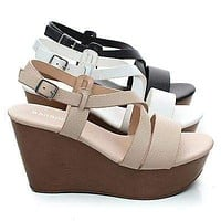 Becca09 By Bamboo, Criss Cross Cut Out Ankle strap Open Toe Platform Wedge Sandal