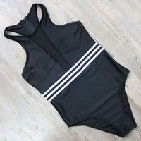 Printed Stripe Vintage One Piece Swimsuit Women Bathing Suits