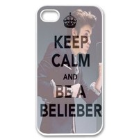 Gentlemen Suit Keep Calm and Be a Belieber Justin Bieber Design Vintage WHITE Sides Case Skin Cover Faceplate Protector Accessory Vintage Retro Unique Comes in Case Cartel Packaging