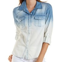 Lt Wash Denim Ombre Chambray Button-Up Top by Charlotte Russe