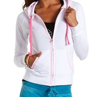 Contrast Stitch French Terry Hoodie: Charlotte Russe