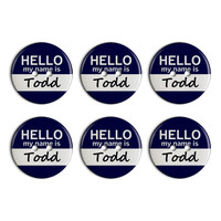Todd Hello My Name Is Plastic Resin Button Set of 6