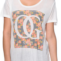 Obey Girls Boxed OG Floral White Beau Tee Shirt