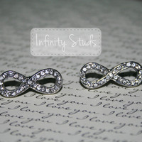 Silver Infinity Stud Earrings with Rhinestones -BACK IN STOCK ***