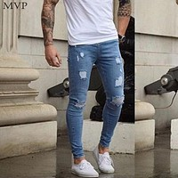 Jeans Men Casual Ripped Hole Denim Skinny Slim Slight Stretch Men Pencil Jeans