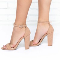 Classy Suede Heels in Warm Taupe
